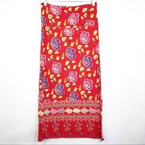 Free People Maxi Skirt Side Slit Floral Sz Large